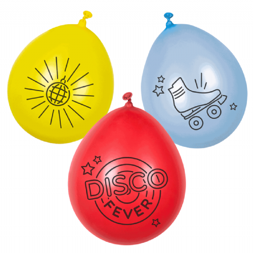 "Balloon:9"" NEW Disco Fever  Neck Up Latex Balloons 6pk"